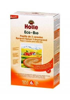 Papillas ecológicas Holle 3 cereales 6M+ 250gr