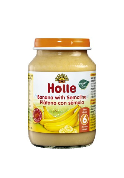 Potitos ecológicos Holle Plátano & Sémola de Maíz 6M+ 190gr